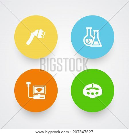 Collection Of Machine, Flask, Slimming And Other Elements.  Set Of 4 Medical Icons Set.