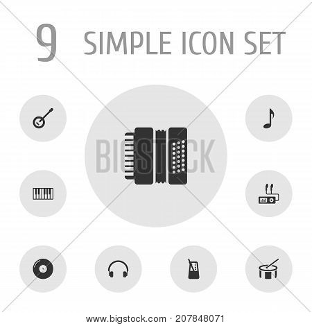 Collection Of Banjo, Rhythm Motion, Tone Symbol And Other Elements.  Set Of 9 Melody Icons Set.