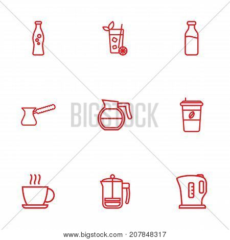 Collection Of Dairy, Coffeepot, Cappuccino And Other Elements.  Set Of 9 Drinks Outline Icons Set.