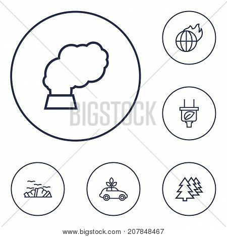 Collection Of Afforestation, Pollution, Ecol And Other Elements.  Set Of 6 Atmosphere Outline Icons Set.