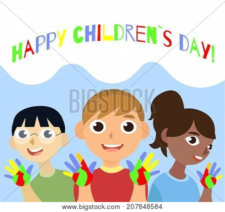 Cartoon vector illustrtation with three kids. 20th November Universal Children s Day poster. National children day. Asian, european and african childrens.
