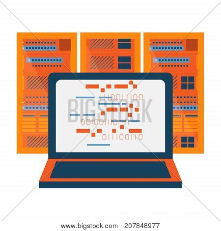 Data server with laptop abstract icon. Network server room. Storage cluster technology concept illustration isolated vector. Transparent