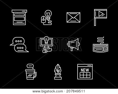 Abstract symbols of blogging. Elements for publishing content for blog. Media and communication concept. Set of simple white line design vector icons on black.
