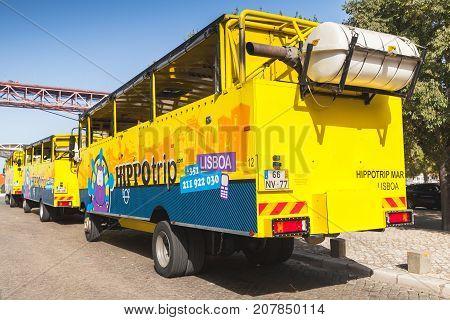 Yellow Blue Amphibian Bus, Rear View