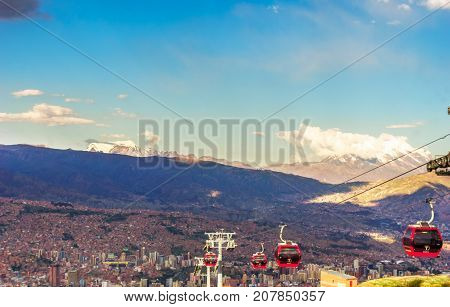 View on Cable car and cityscape of la paz in Bolivia