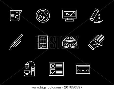 Abstract symbols of forensic expertise. Laboratory equipment and tools, reagents for samples testing and research, conclusion documents. Set of simple white line design vector icons on black.