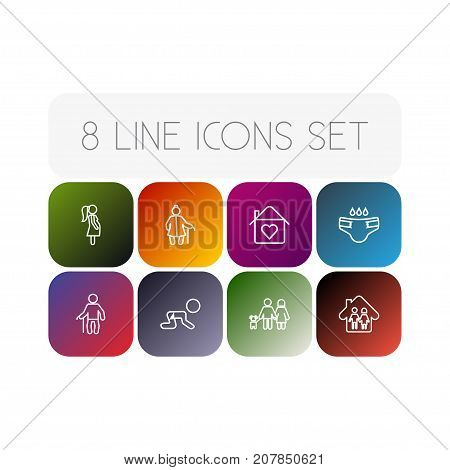 Collection Of Parents, Crawling Kid, Diaper And Other Elements.  Set Of 8 People Outline Icons Set.