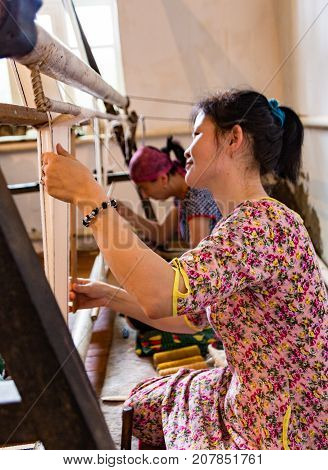 Women Work At Looms In Kyrgyzstan