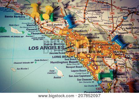Vinnitsa Ukraine - January 18 2017: San Diego pinned on a map