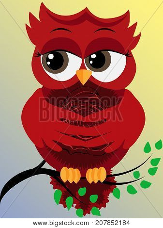 Cute Beautiful Red Owl On A Branch With A Rose On A Pussy