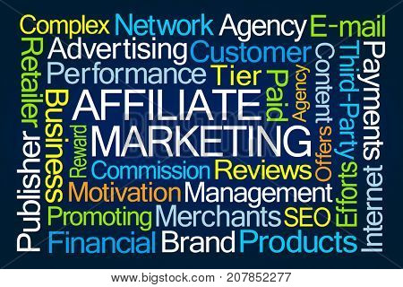 Affiliate Marketing Word Cloud on Blue Background