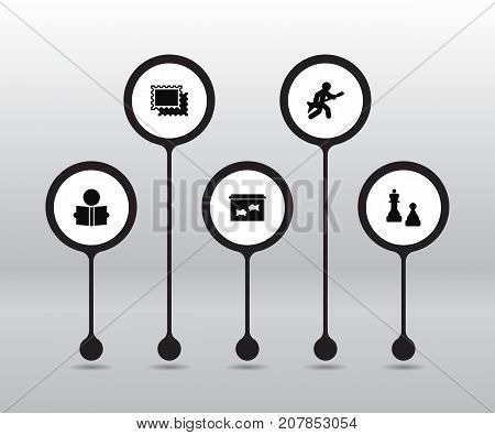 Collection Of Collecting, Checkmate, Playing And Other Elements.  Set Of 5 Entertainment Icons Set.