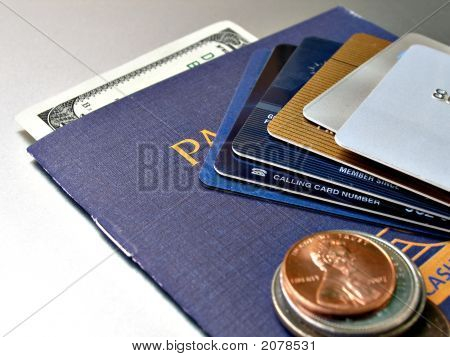 Close Up Shot Of Stack Credit Cards, Coins And Bill