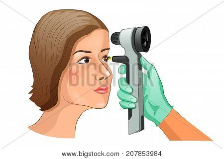 vector illustration of a fundus examination using Ophthalmoscope.