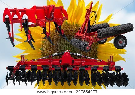 Farm equipment and implements - disc harrow, subsoiler, flat lifter and roller tractor trailer.