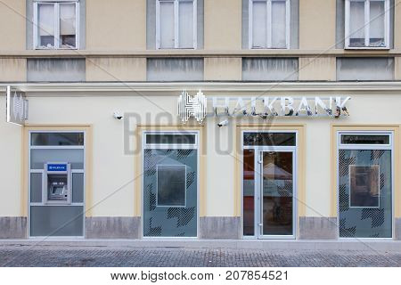 BELGRADE SERBIA - SEPTEMBER 3 2017: Local branch of the Turkish bank Halkbank which started to open offices in Serbia