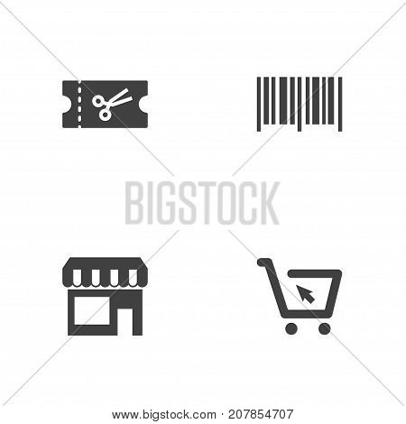Collection Of Identification Code, Market, Ticket And Other Elements.  Set Of 4 Store Icons Set.