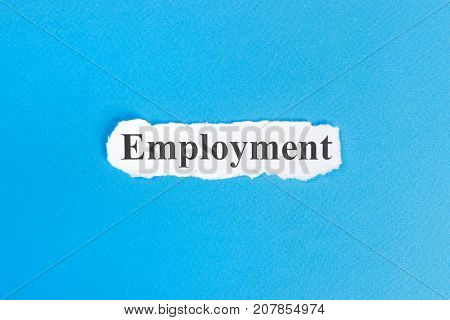 EMPLOYMENT text on paper. Word EMPLOYMENT on torn paper. Concept Image.