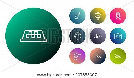 Collection Of Bike, Bag, Globe And Other Elements.  Set Of 10 Journey Outline Icons Set.