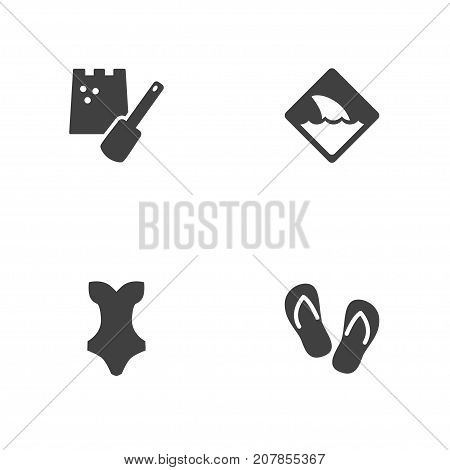 Collection Of Warning, Flip Flop, Game And Other Elements.  Set Of 4 Beach Icons Set.
