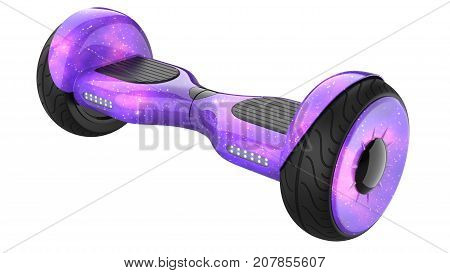 Cosmos Purple Hover Board, Close Up of Dual Wheel Self Balancing Electric Skateboard Smart Mini Scooterl. 3d rendering of self-balancing board with the texture of space, isolated on white background
