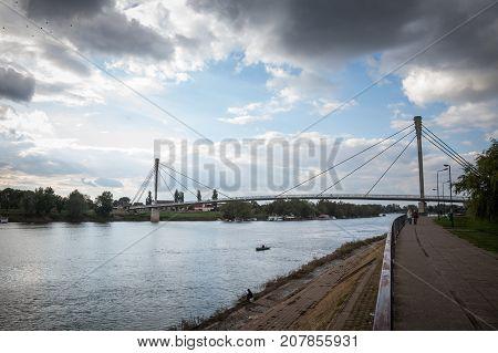 SREMSKA MITROVICA SERBIA - OCTOBER 10 2017: Saint Irinej bridge (Most Svetog Irineja) corring the Sava river in Sremska Mitrovica (Serbia). Sremska Mitrovica is one of the main cities of the northern Serbian Region of Srem