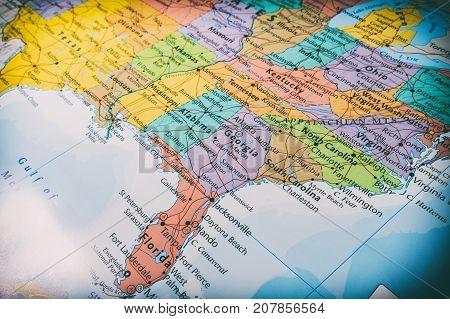 Vinnitsa Ukraine - June 25 2017:South USA States on the map