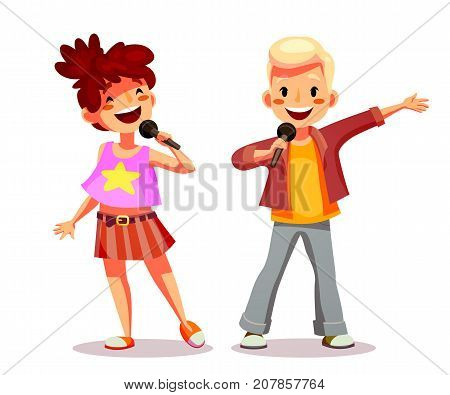 Cute girl and boy singing into a microphone. Children participate in the competition of singers sing karaoke or perform in concert. Funny cartoon character. Isolated on white. Vector illustration