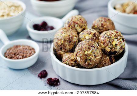 White chocolate pistachio dates oats flax seed raw balls