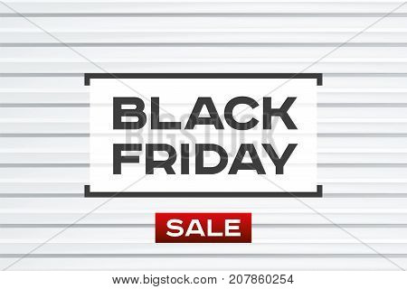 Black Friday Sale. Light background. Realistic embossing strips texture, white geometric pattern. Red accent. Vector design form for you business projects