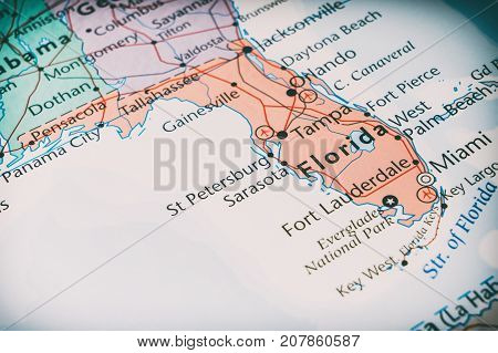 Florida On The Map, The Concept Of Travel.