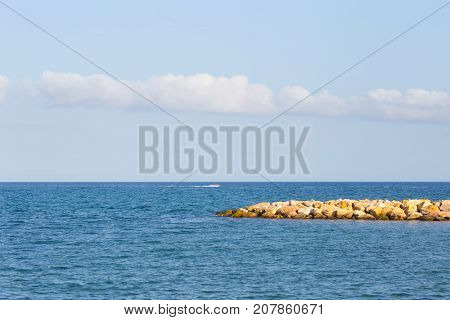 Barrier And Rock Dam, Protection Sea Water And Wave On The Sea.
