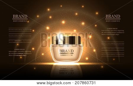 Cosmetics beauty series premium body cream for skin care on gold background template for design poster placard presentation banners cover vector illustration.