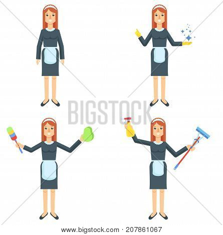 Maid flat vector character. Girl, woman in uniform with cleaning supplies. Cleaning service of hotels and houses. Cartoon illustration. Objects isolated on a white background.