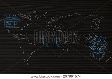 Parcel Delivered From The Shop To The Customer With World Map Overlay