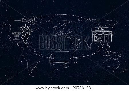 Cyle From The Order To The Shop To The Truck To Parcel Delivered Over World Map