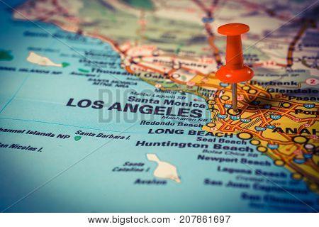 Vinnitsa Ukraine - January 18 2017: Los Angeles pinned on a map