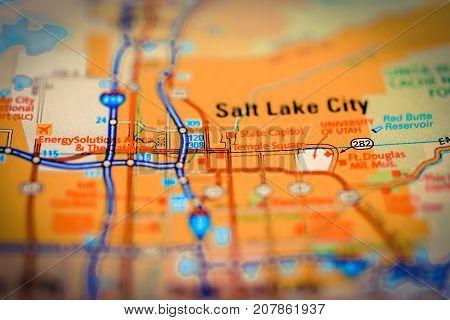Salt Lake City on the map close up