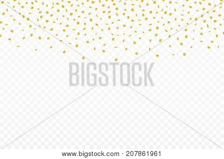 Golden Confetti. Festive Background With Golden Confetti. Falling Confetti Isolated On Transparent B
