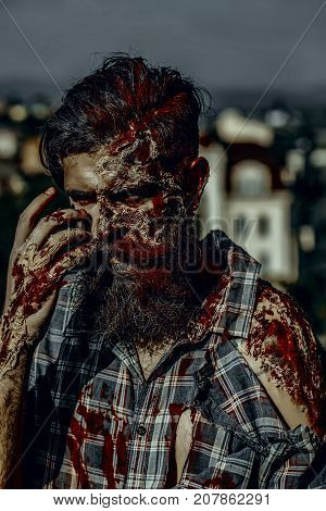 Halloween Man With Bloody Beard And Hair