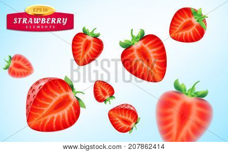Strawberry set, detailed realistic ripe juicy halves of strawberry berries with green leaves with water droplets isolated on a blue background. 3d illustration