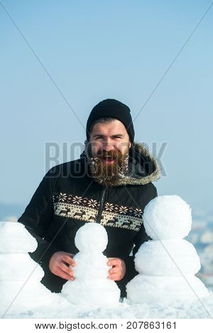 Santa Claus Hipster In Coat And Snowman.