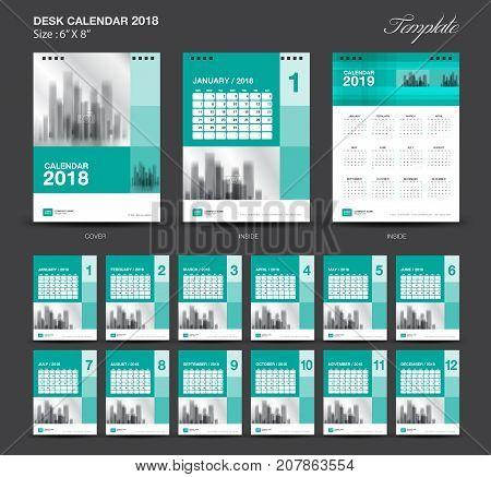 Set Green Desk Calendar 2018 year size 6 x 8 inch template, Set of 12 Months, Week Starts Monday, flyer design