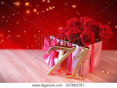 birthday concept with red roses in gift on wooden desk. 3D render - seventy-first birthday. 71st
