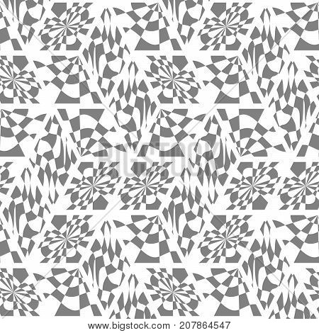 Abstract seamless pattern from different elements. Cubic structure. Kaleidoskom of geometrical shapes.