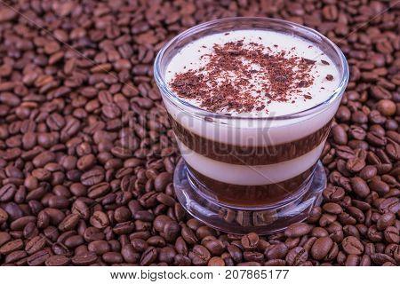 Coffee milk choko pudding on wooden background