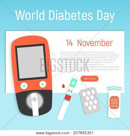 The concept of the day of diabetes. World Diabetes Day Banner with a glucometer and tablets. Vector illustration.