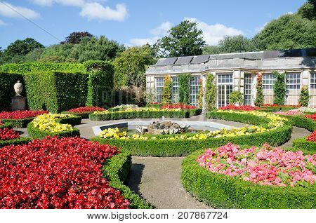 MOUNT EDGCUMBE COUNTRY PARK CREMYLL CORNWALL. 17th September 2017. The Italian Garden - part of the formal gardens at Mount Edgecumbe country park - is a popular visitor draw even in the early Autumn.