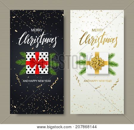 Merry Christmas and Happy New Year backgrounds for holiday greeting card, invitation, party flyer, poster, banner. Christmas tree balls, fir branches, gift box and confetti. Vector illustration