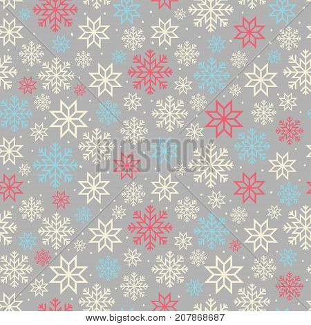 Christmas seamless pattern with snowflakes in scandinavian style. Xmas and new year snowfall background. Vector ice crystals